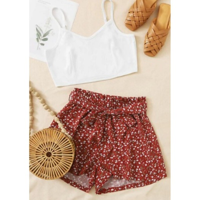 Ensemble short fleuri crop top blanc taille S CA 12