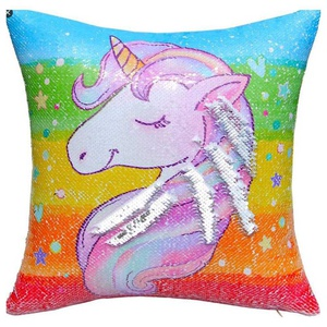 Taies de coussin licorne multicolor - Lot de 02