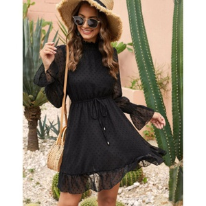 Robe  col rond longue manche taille S noir CA12