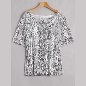 T-shirt à paillettes brillantes Taille  XL