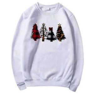 Pull Over à Col Rond, Motif Sapin de Noel