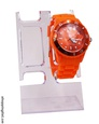 Montre Sanda en plastique de couleur orange.